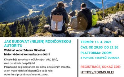 Online workshop Jak budovat rodičovskou autoritu 15.4.2021